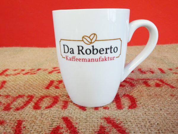 Kaffeepot mit Da Roberto Logo auf Kaffeesack