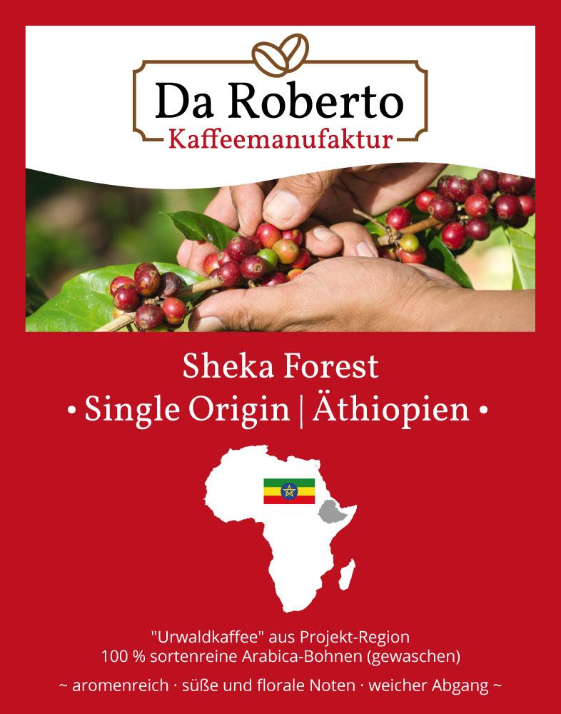 Kaffeeetikett Projektkaffee Äthiopien Sheka Forest in der Kaffeemanufaktur in Hachenburg im Westerwald